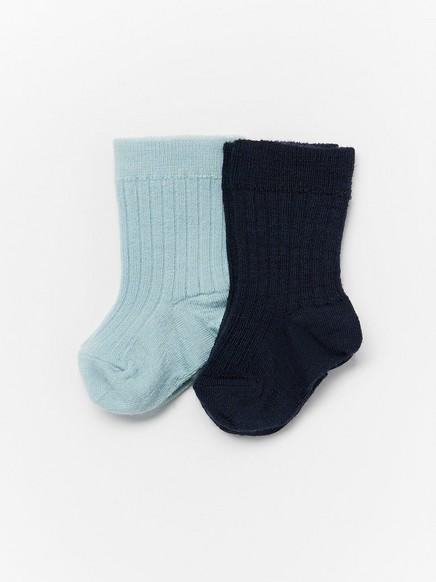 2-pakning med ribbestrikkede sokker i ullblanding Blå