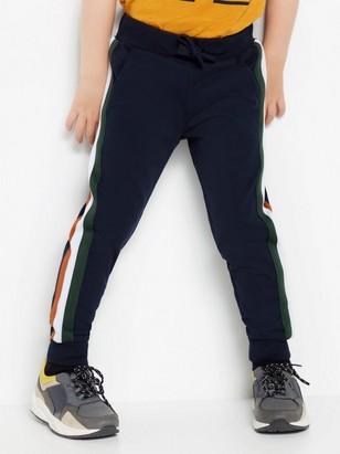 Dark navy sweatpants with side stripes Blue