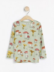 Long sleeve top with mushroom print Green