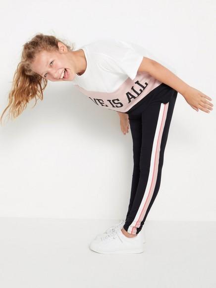 Mustat leggingsit, joissa sivuraidat Musta