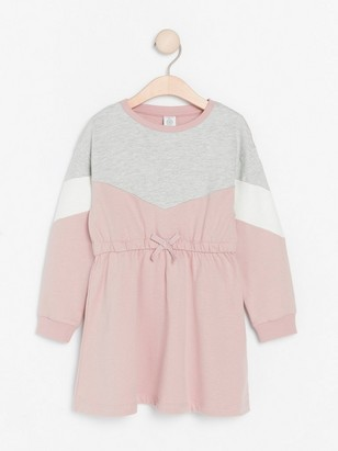 Pink sweatshirt dress with colour blocks Pink