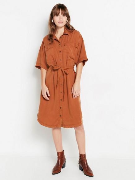Skjortekjole i lyocell med knytebelte Brun