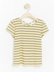 Yellow striped ribbed jersey top Yellow