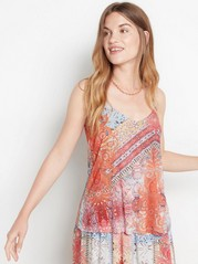 V-neck tank top in lyocell blend  Red