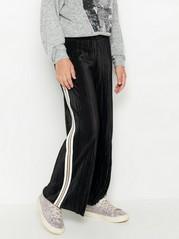 Leveät laskostetut housut, joissa sivuraidat Musta