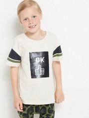Väljä t-paita, jossa käännettävät paljetit Beige