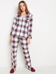 Rutete pyjamassett Hvit