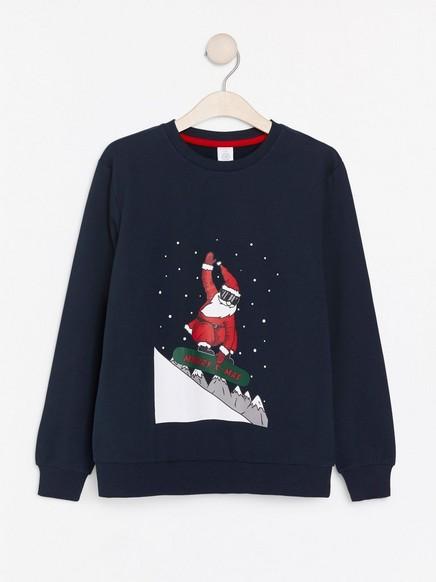 Genser med julenissemotiv Blå
