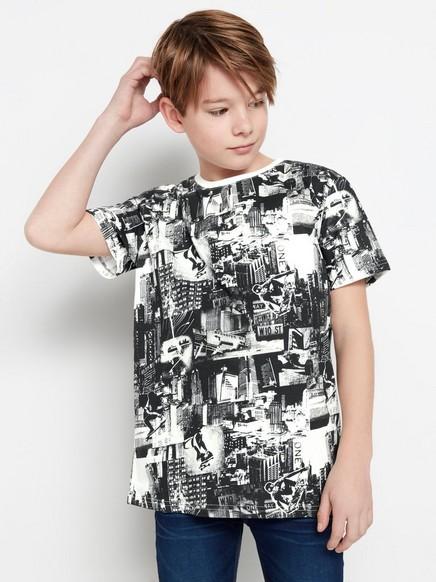 T-shirt med svartvitt mönster Svart