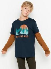 T-shirt med dubbelsydd ärm och tryck Blå