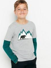 T-shirt med dubbelsydd ärm och tryck Grå