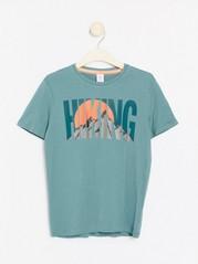 Kortermet T-skjorte med trykk Turkis