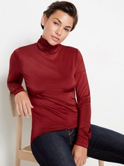 Shiny long sleeve roll neck top Red
