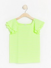 Neon striped top with flounce sleeves Yellow