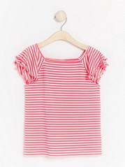 Neon striped top with flounce sleeves Pink