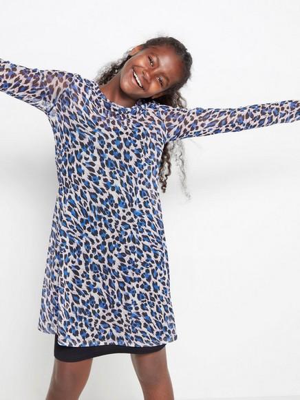 Leopardikuvioitu mekko mesh-kankaasta Sininen