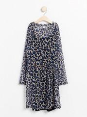Mesh dress with leopard print Blue