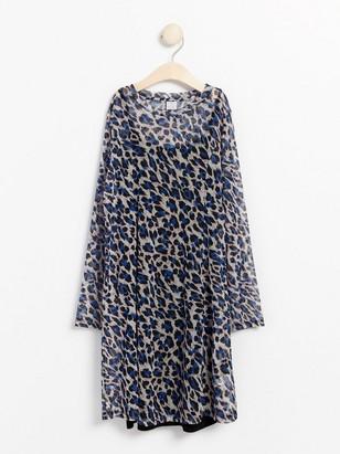 Meshklänning med leopardmönster Blå