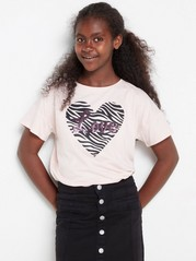 Short sleeve top with print Pink