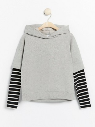 Grey hooded sweater with striped sleeves Grey