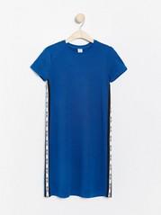 Blue jersey dress with side stripes Blue