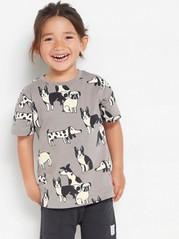 Oversize grå t-shirt med hundar Grå
