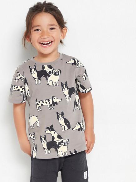Harmaa väljä t-paita, jossa koiria Harmaa