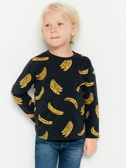 Musta pusero, jossa banaanipainatus Musta