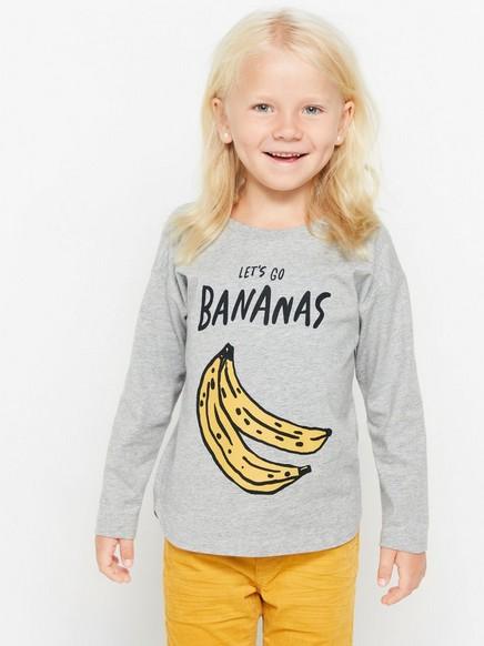 Pusero, jossa banaanipainatus Harmaa