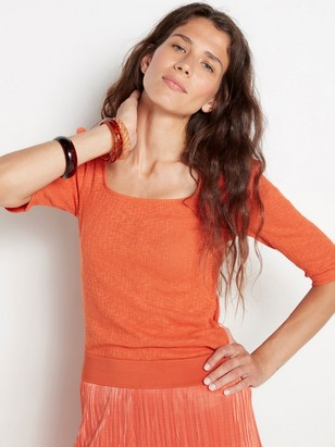 Cotton top with puff sleeve Orange