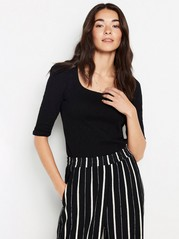 Cotton top with puff sleeve Black