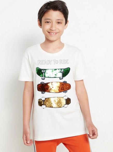 Vit t-shirt med skateboards med vändbara paljetter Vit