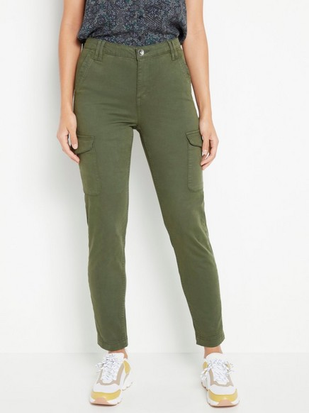 Khaki MAIA Gröna byxor med avsmalnat ben 199:50 | Lindex