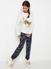 Pyjamas med leopardtrykk og mønster Hvit