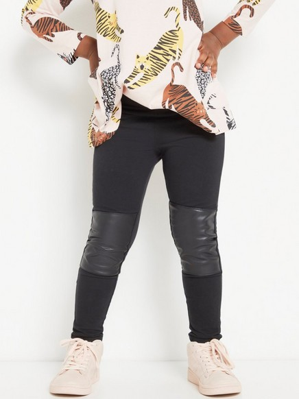 Black leggings with imitation leather knee patches Black