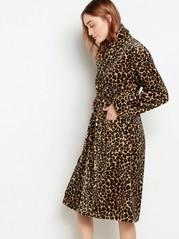 Leopardí flísový župan Běžová