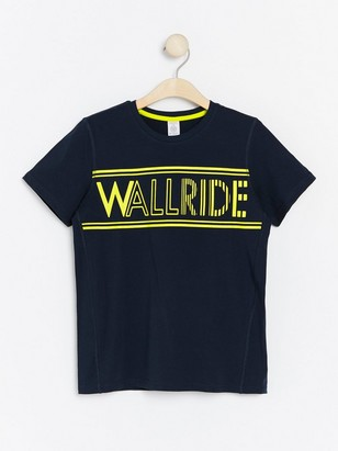 Dark navy t-shirt with neon yellow print Blue