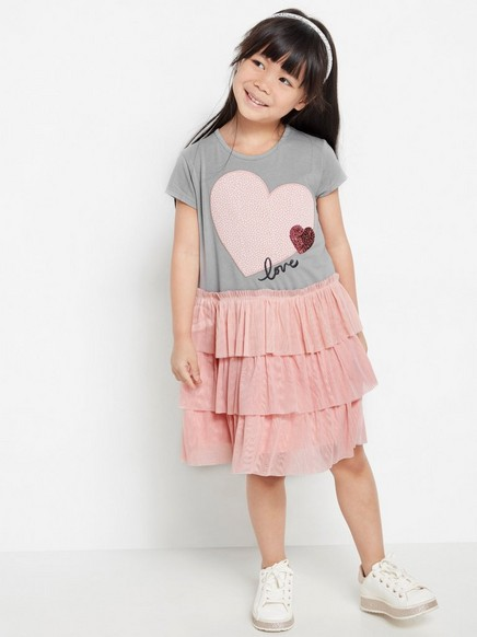 Short sleeve dress with pink tulle skirt Grey