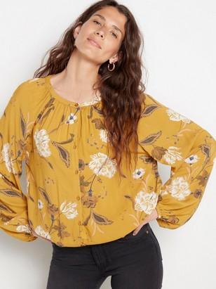 Long sleeve viscose blouse  Yellow