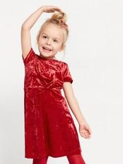 Kortermet kjole i nervøs fløyel Rød