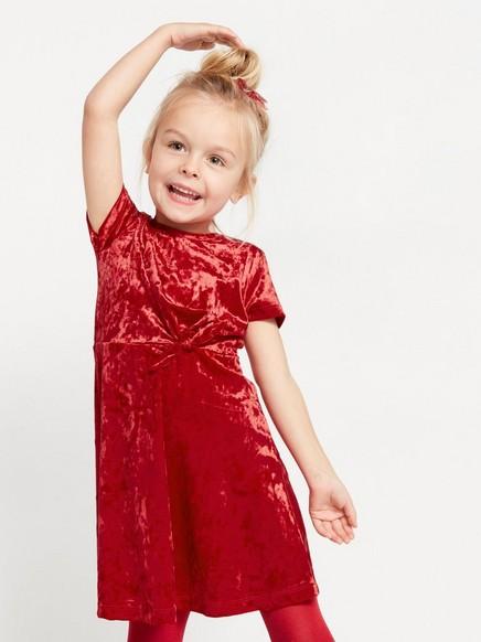 Kortärmad klänning i krossad sammet Röd