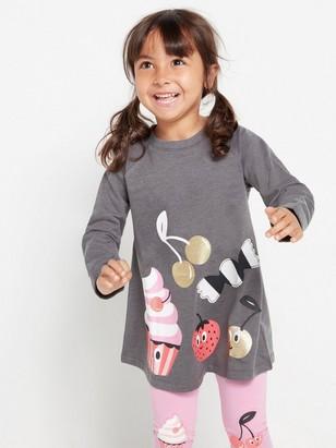 Grå sweatshirt-tunika med muffinstrykk Grå