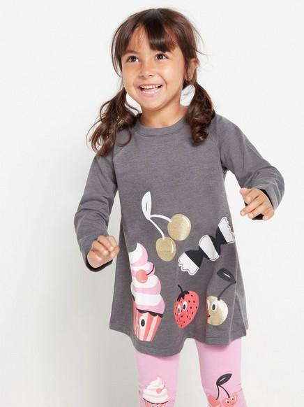 Grey sweatshirt tunic with cupcake print Grey