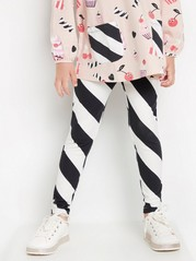 Striped leggings in black and white Black