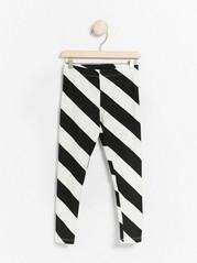 Striped leggings in black and white Black