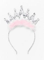 Kimaltava hiuspanta, jossa on kruunu ja turkisjäljitelmää Metalli