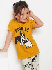Oversized yellow t-shirt with dog print Yellow