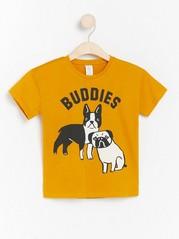 Oversized yellow t-shirt with dog print Yellow