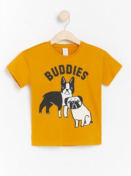 Oversize gul t-shirt med hundar Gul
