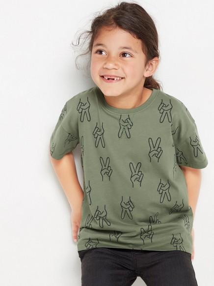 Overdimensjonert, grønn T-skjorte med mønster Kaki